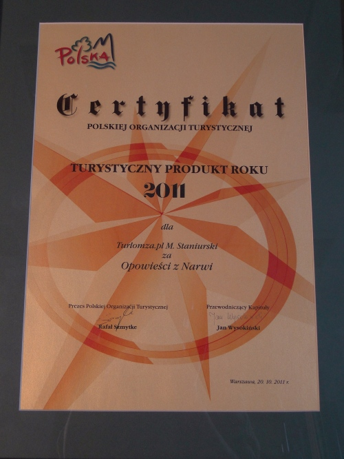Certificate for The Chronicles of Narvia - the best of Polish tourist product 2011
